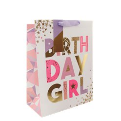 Bolsa de Regalo Mediana con Globos Birthday Girl - 25cm