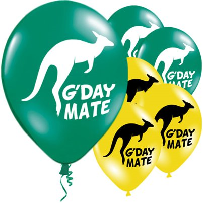 Globos Australianos Inscripción G'Day Mate 28cm