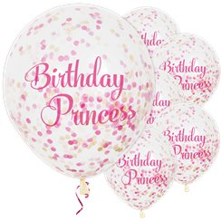 Globos Confeti Happy Birthday Princess - Látex 30cm