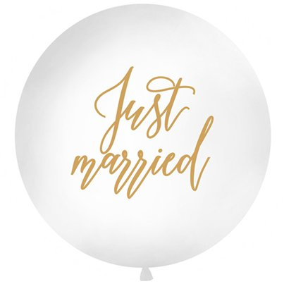 "Globo gigante ""Recién Casados"" (Just Married) en letras doradas - 91.5cm - Látex"