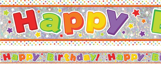 Banner multicolor holográfico Happy Birthday-2,7m