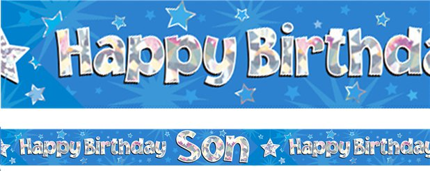 Banner metalizado azul Happy Birthday Son - 2,7m