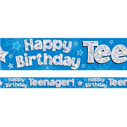 "Banner ""Happy Birthday Teenager"" metalizado de color azul - 2,7m"