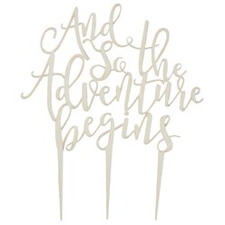 "Hermosos Toppers de Tarta de madera ""And So The Adventure Begins"" - 14,5cm"