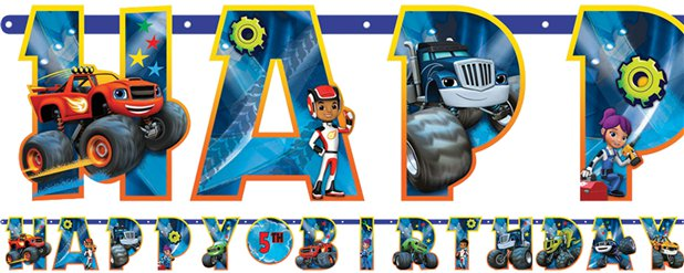 Banner con letras de Blaze y los Monster Machines