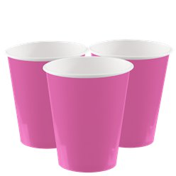 Vasos de papel rosas fucsias - 266ml