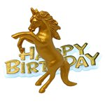Topper Tarta Happy Birthday Unicornio Dorado - 8cm