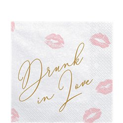 "Servilletas de papel con huellas de labios ""Drunk in Love"" (Borracha enamorada) - 33cm"