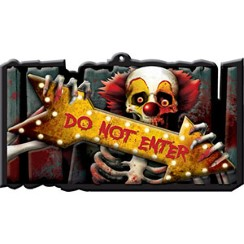 "Letrero de plástico con payaso tenebroso ""Do not enter"" - 44cm"