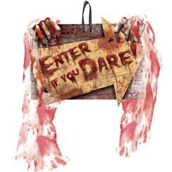 "Tenebroso letrero de payaso de Halloween y leyenda ""enter if you dare"" - 29cm"