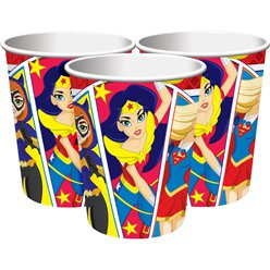 Vasos de DC Super Hero Girls-Vasos de cartón de 266 ml para fiesta