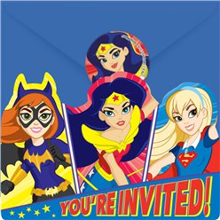Invitaciones DC Super Hero Girls-Tarjetas de Invitación para fiestas