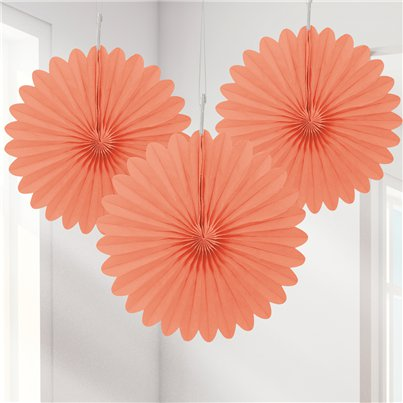 Mini abanicos decorativos Coral - 15cm