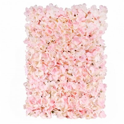 Pared de flores de hortensia en color rosa - 60cm