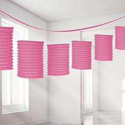 Guirnalda decorativa con lámparas de papel color rosa-3,7m