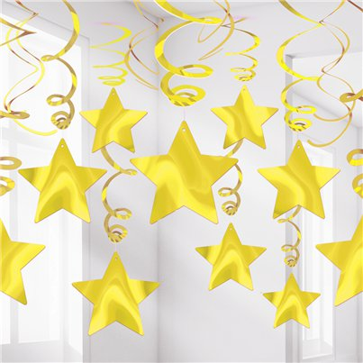 Espiral colgante decorativa Gold Star-60cm
