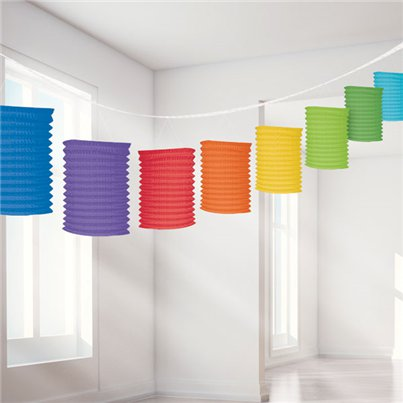 Guirnalda decorativa con lámparas de papel colores del arcoiris-3,7m