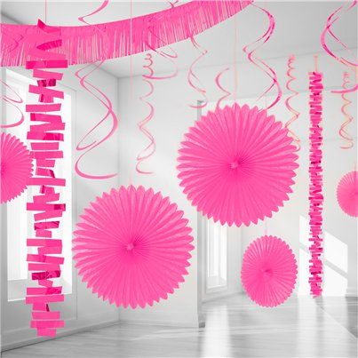 Kit Decoración Salón Papel y Aluminio Metalizado Rosa brillante