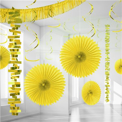 Kit Decoración de Salón de Papel y Metalizado Amarillo