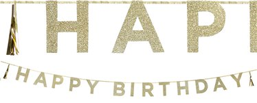 Banner de letras doradas Happy Birthday-3m