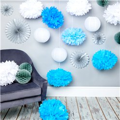 Kit de decoración azul y plata
