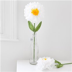 Flor decorativa grande de color blanco - 55cm