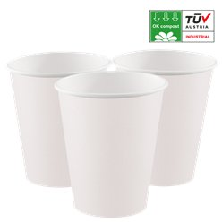 Vasos de papel blancos compostables - 200ml