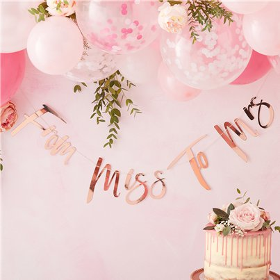 "Banner Despedida de Soltera Floral ""From Miss to Mrs"" - 1,5m"