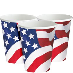 Vasos de Papel Bandera USA - 255ml