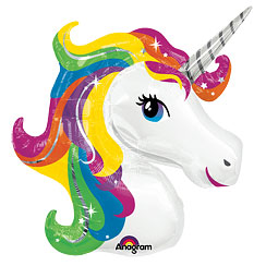 Globo Superforma Unicornio Arcoiris Metalizado - Aluminio 83cm