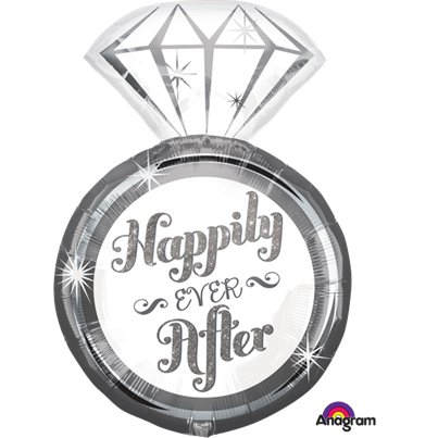 "Globo Superforma Anillo Happily Ever After- 27"" metalizado"
