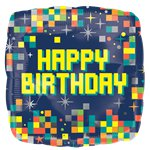 "Globos con Pixels ""Happy Birthday"" - Aluminio 45cm"