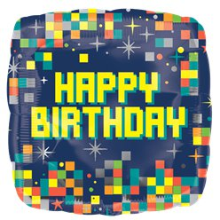"Globos con Pixels ""Happy Birthday"" - metalizado 45cm"