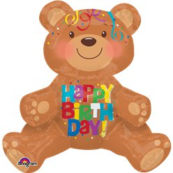 "Globos Oso Sentado ""Happy Birthday"" - Aluminio 48cm"
