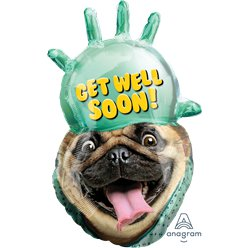 "Globo Pug ""¡Mejórate pronto!"" (Get Well Soon!) - 81cm - Papel de aluminio"