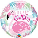 Globos Rosa Flamenco Happy Birthday Metalizados - Aluminio 45cm