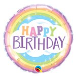Globo Arcoiris Happy Birthday - Metalizado 45cm