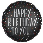 Globo Satinado Negro con Puntos Happy Birthday - Metalizado 45cm