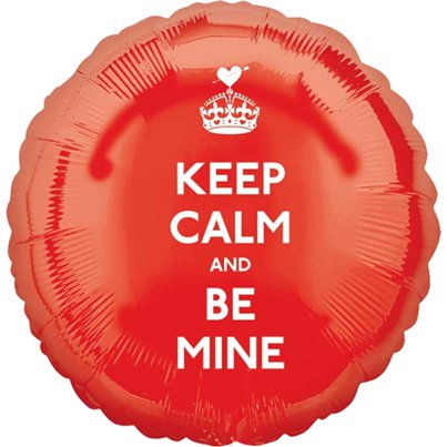 Globo Keep Calm & Be Mine Rojo Metalizado San Valentín 45cm