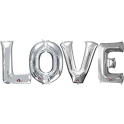"Kit de globos plateados ""LOVE""-34''"