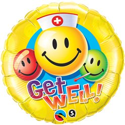 Globo Redondo Caritas Smiley Get Well - Metalizado 45cm