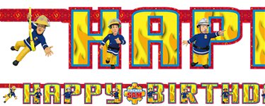 Banner de letras Happy Birthday de Sam el bombero