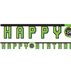 Banner Happy Birthday Game On - Banner de letras unidas 2,18m