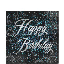 Servilletas Glitz Azul Happy Birthday