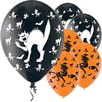 Globos de Halloween de brujas y gatos - Latex 28cm
