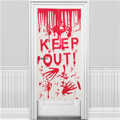 Vinilo para puerta de Halloween 'Keep Out' (58 x 118 cm)