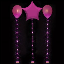 Cola de luces rosas fucsias LED para globos - 1m