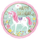"Globo Unicornio Mágico ""Happy Birthday"" - Aluminio 45cm"