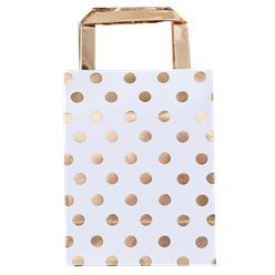 Pick & Mix Bolsas de papel Polka Dot Dorado - 26cm