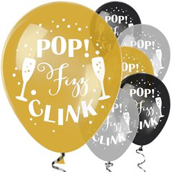 Globos Pop Fizz Clink - látex 28cm